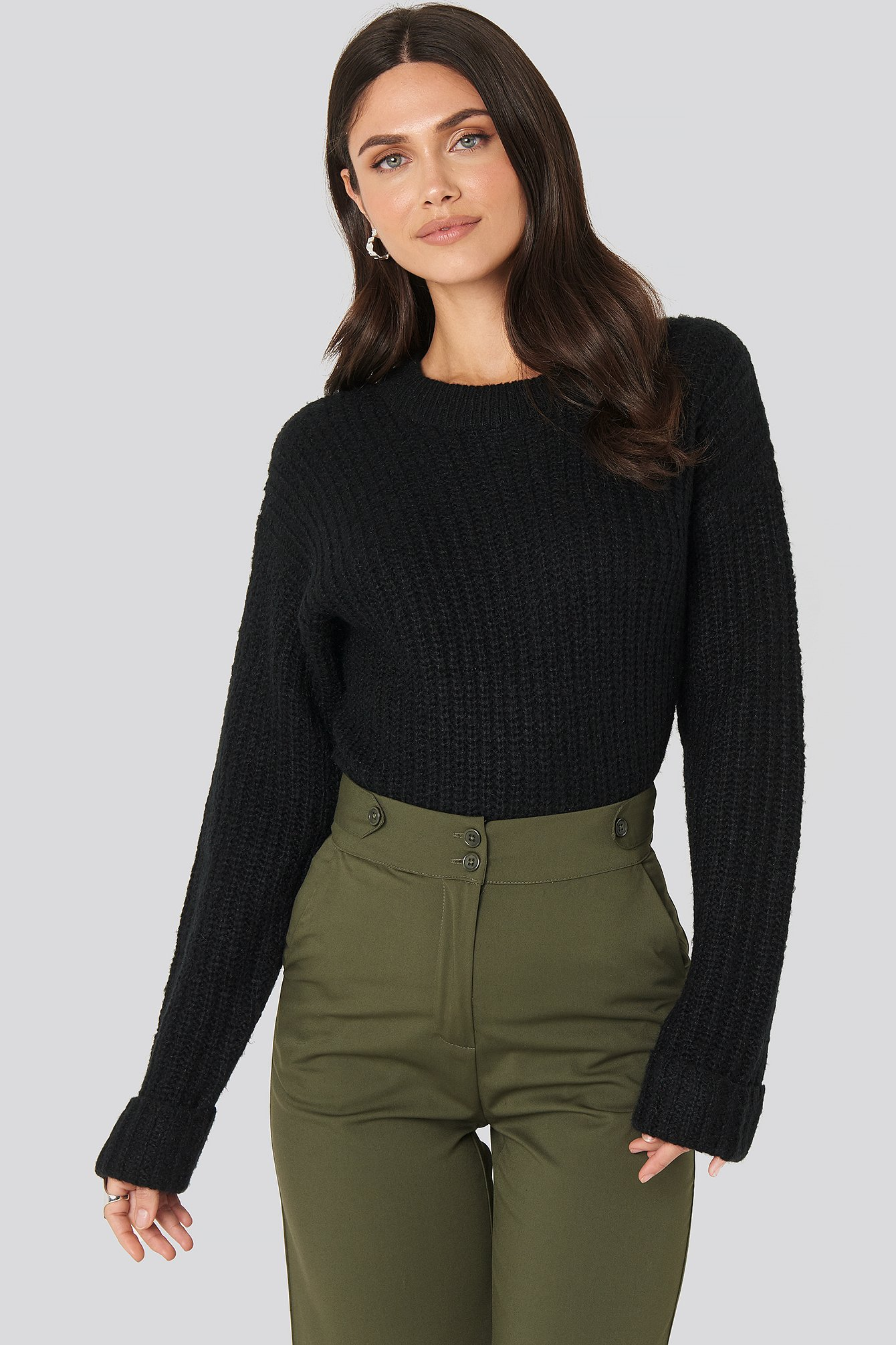 NA-KD Folded Sleeve Round Neck Knitted Sweater - Black