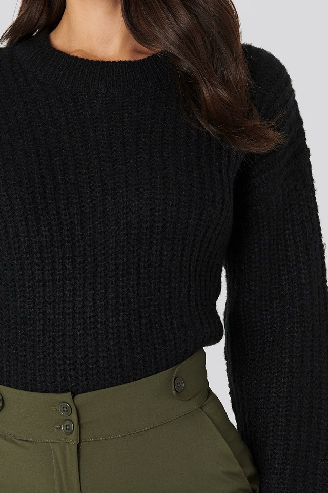 Folded Sleeve Round Neck Knitted Sweater Black