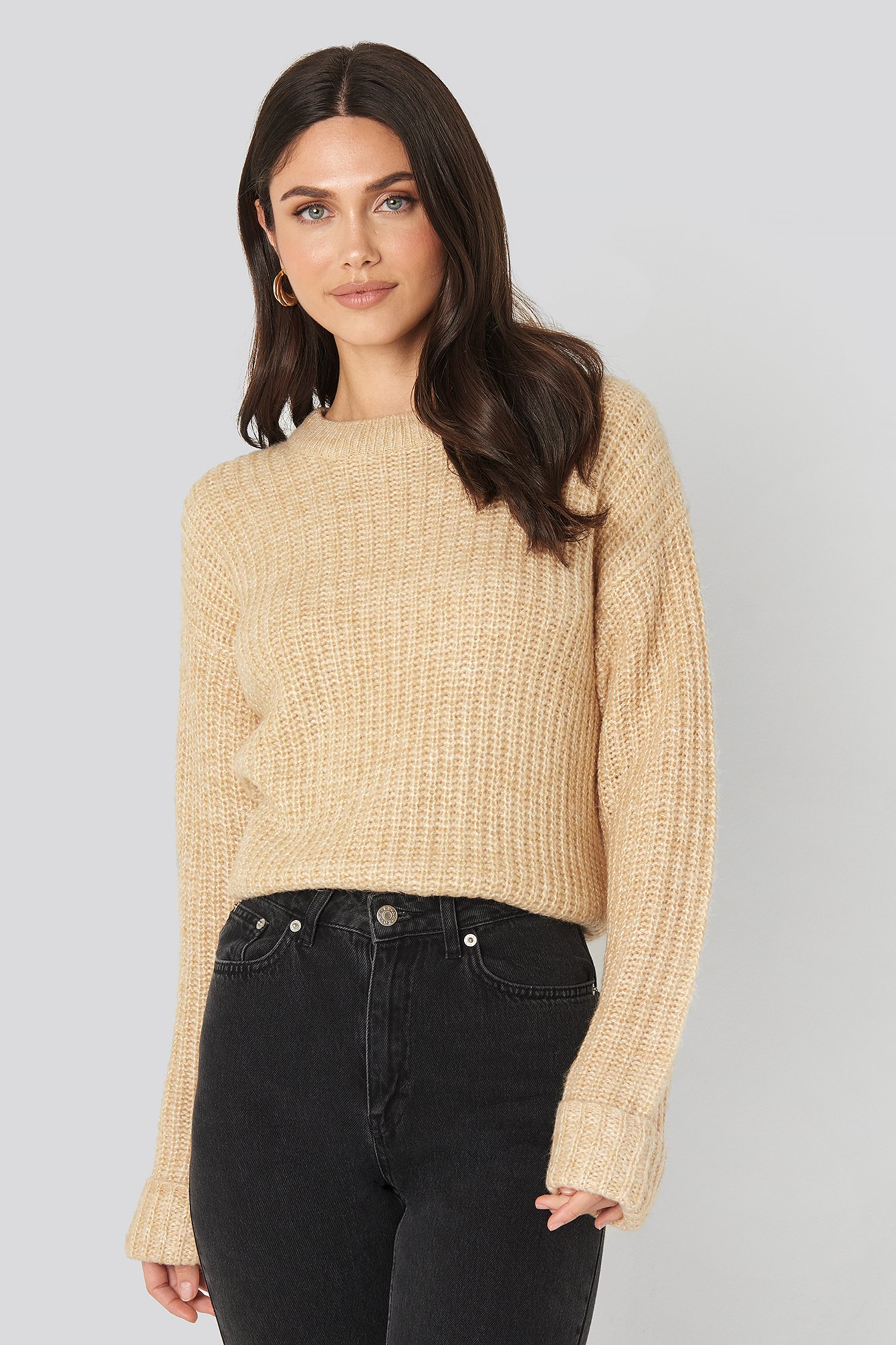 NA-KD Folded Sleeve Round Neck Knitted Sweater - Beige