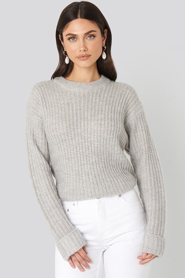 Folded Sleeve Round Neck Knitted Sweater NA-KD