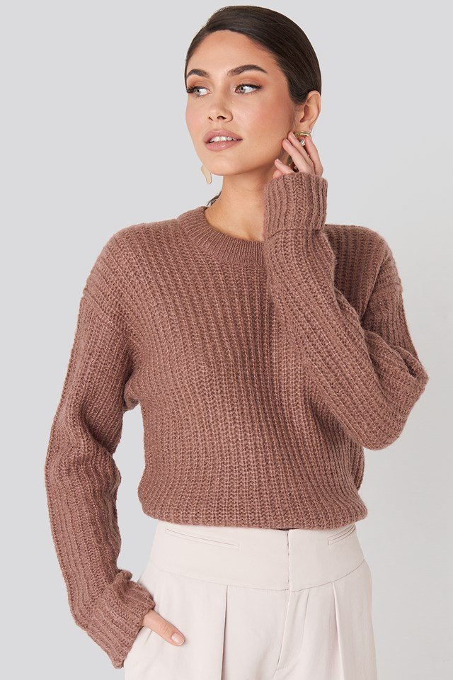 Folded Sleeve Round Neck Knitted Sweater Dusty Dark Pink