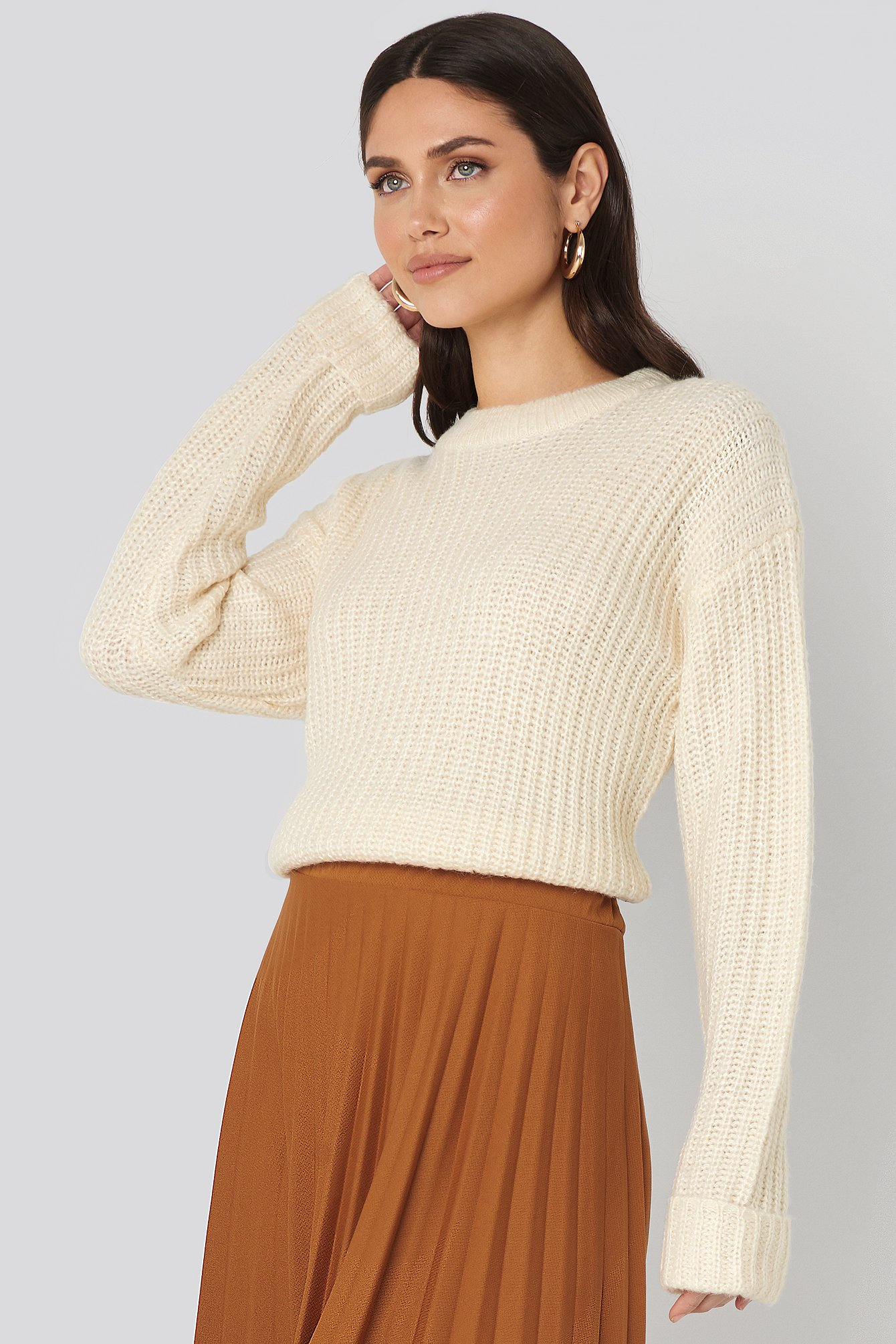 NA-KD Folded Sleeve Round Neck Knitted Sweater - White