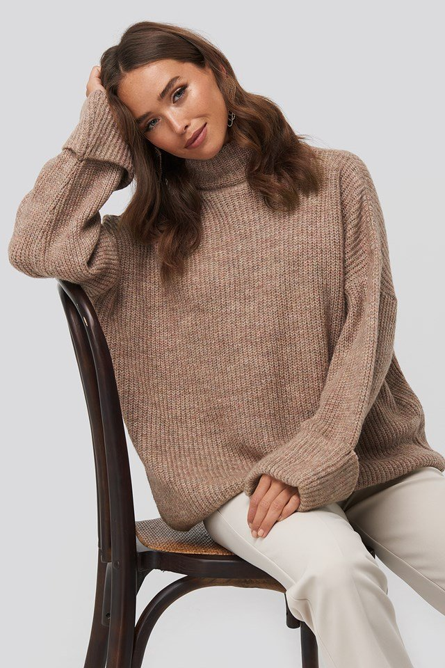Folded Sleeve Turtle Neck Knitted Sweater Dusty Pink