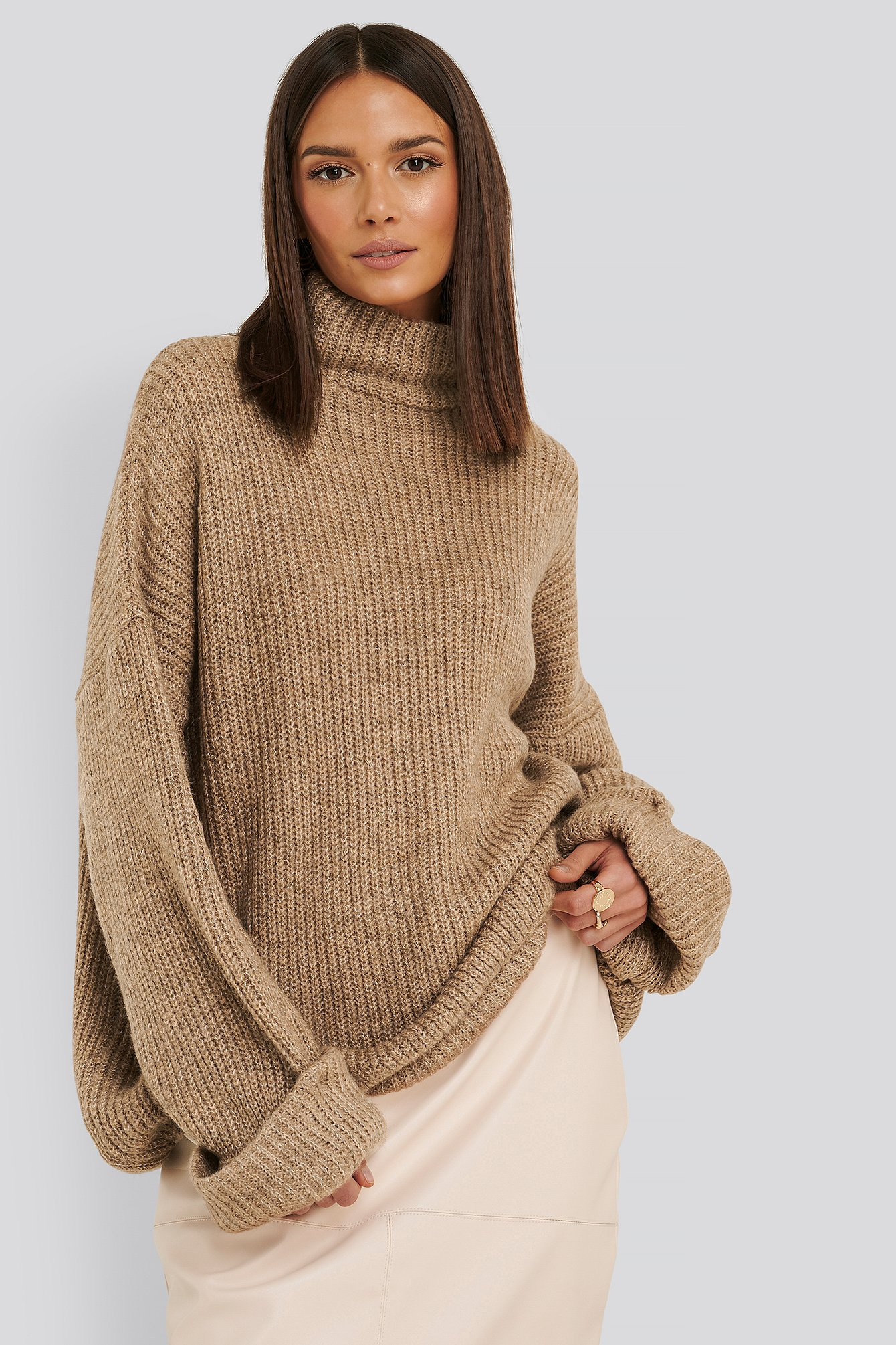 Beige Folded Sleeve Turtle Neck Knitted Sweater