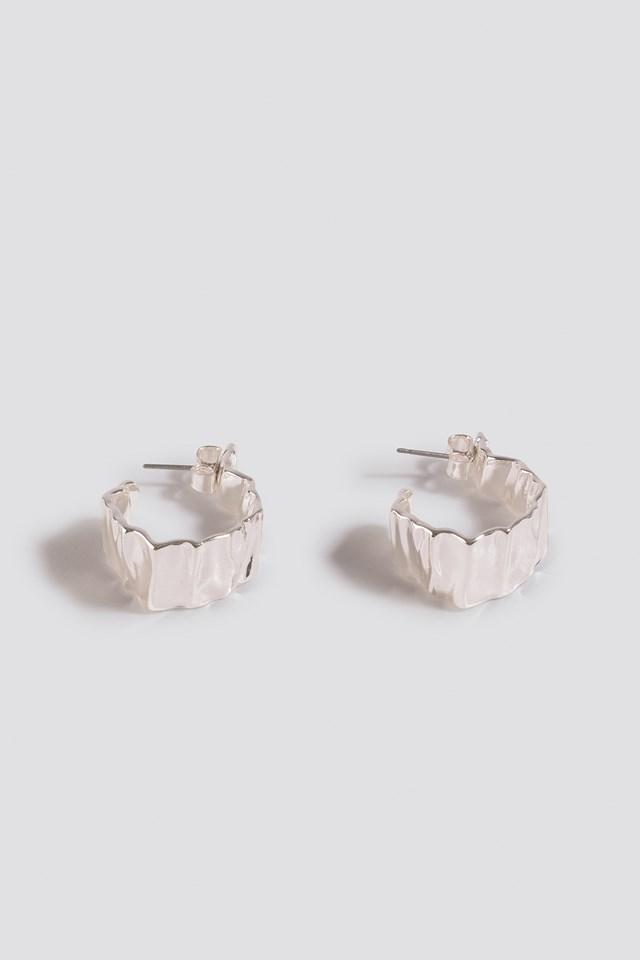 Folding Detail Oval Hoops Silver