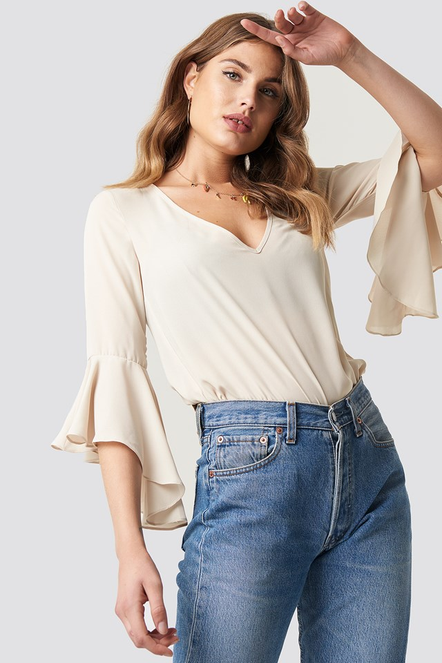 Flounced Sleeve V-Neck Blouse Light Beige