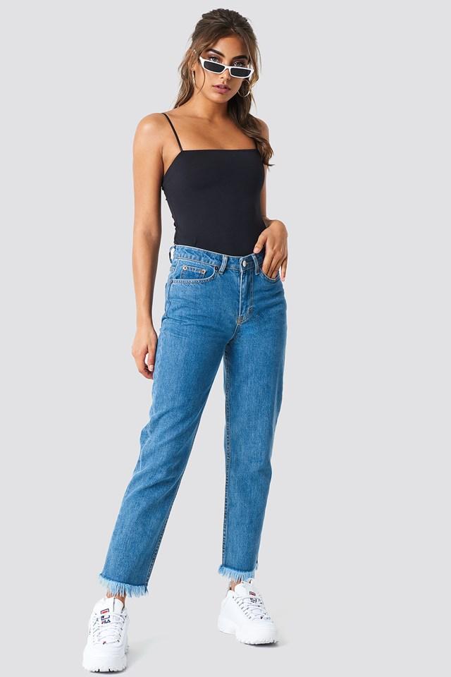 Fray hem Jeans Mid Blue