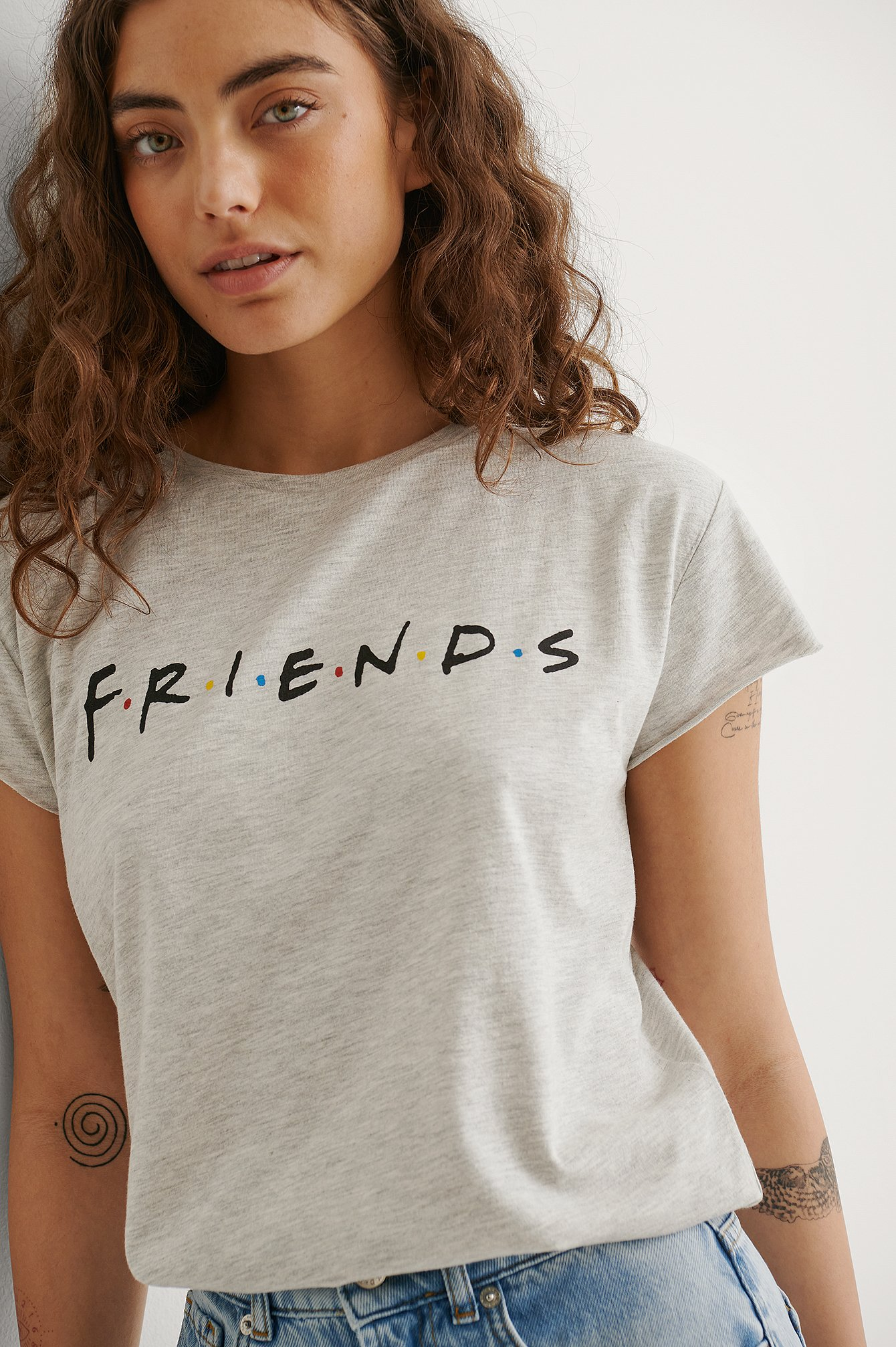Grey Melange Friends Logo FRIENDS Print Raw Edge Tee