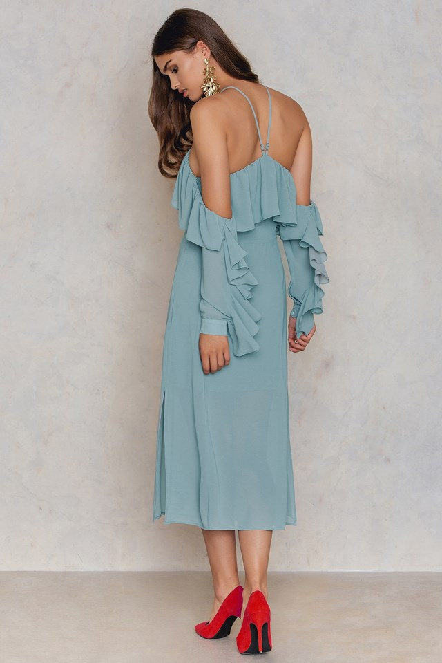 Frill A-neck Midi Dress NA-KD.COM