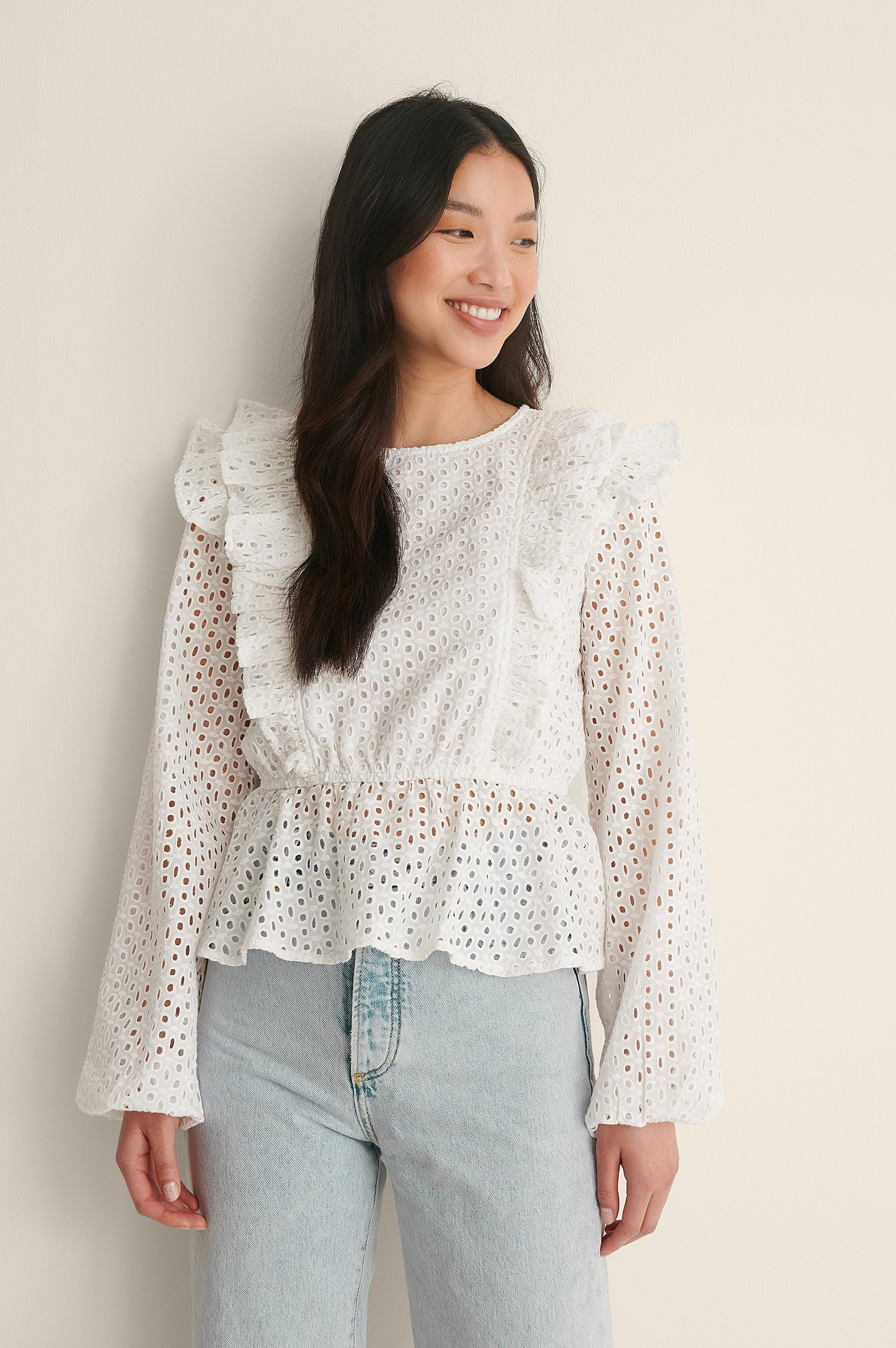 White Frill Anglaise LS Blouse