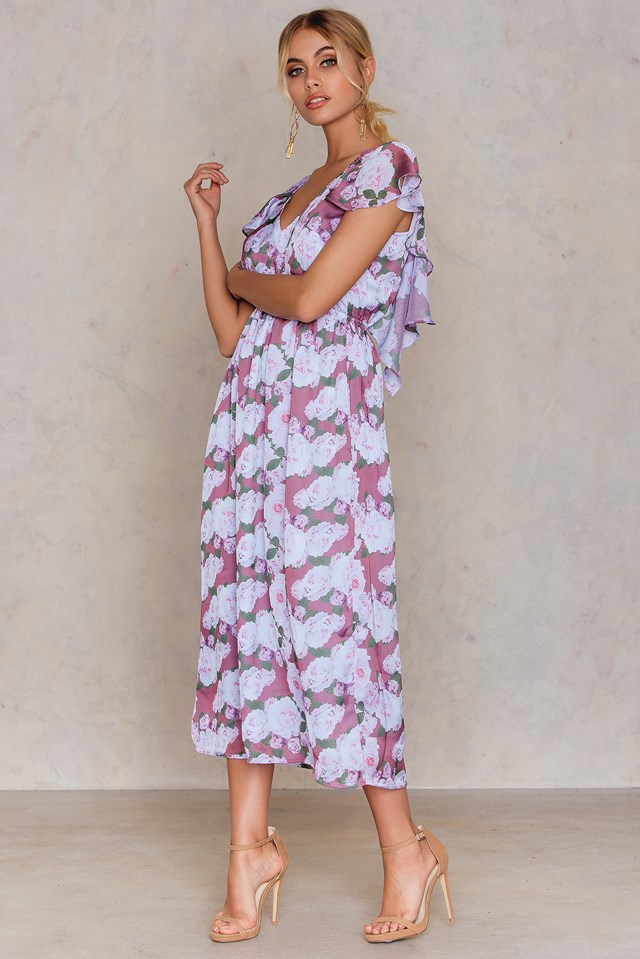 Frill Back Midi Dress Flower Print