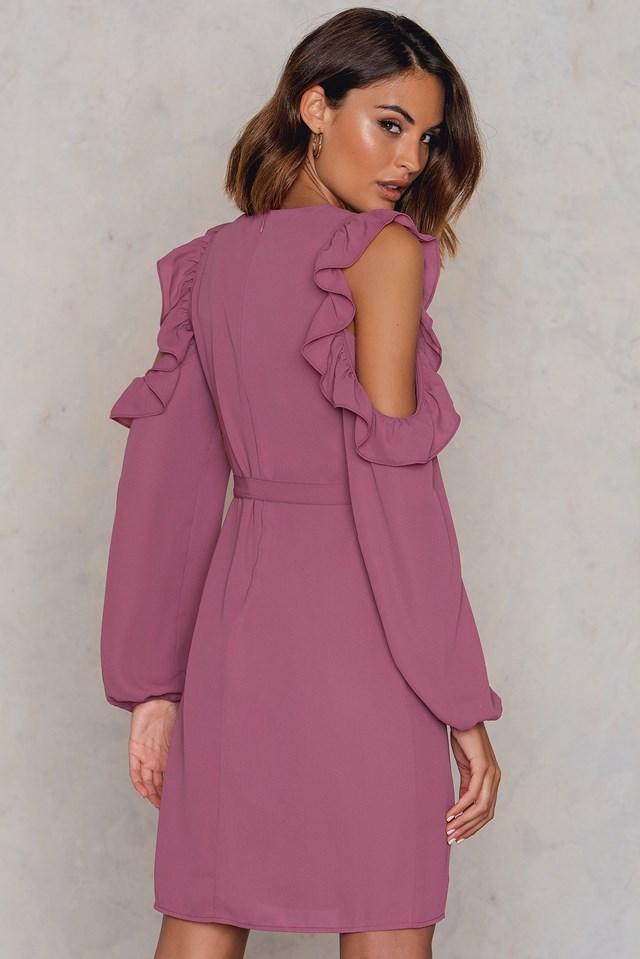 Frill Cold Shoulder Dress Pink Rose