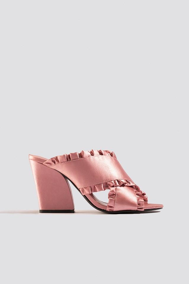Frill Cross Mule Heels Light Pink