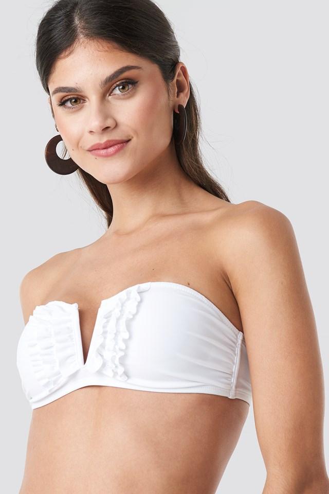 Frill Deep V Bandeau Bikini White
