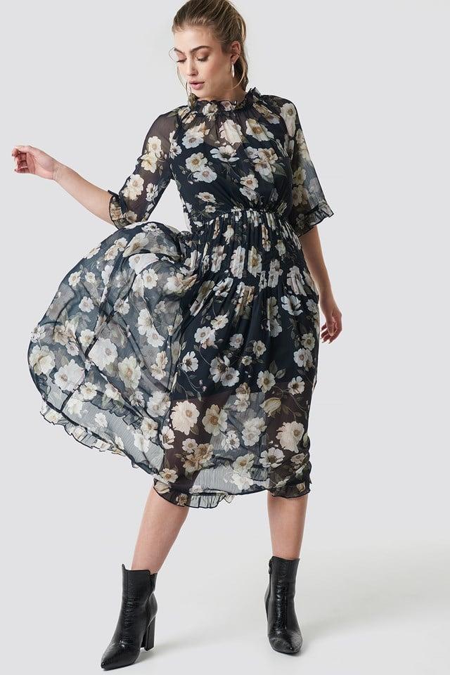 Frill Detail Chiffon Midi Dress Blue Flower Print