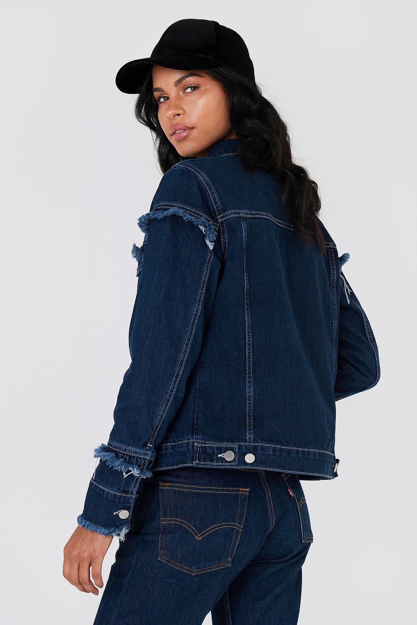 Frill Detail Denim Jacket NA-KD.COM