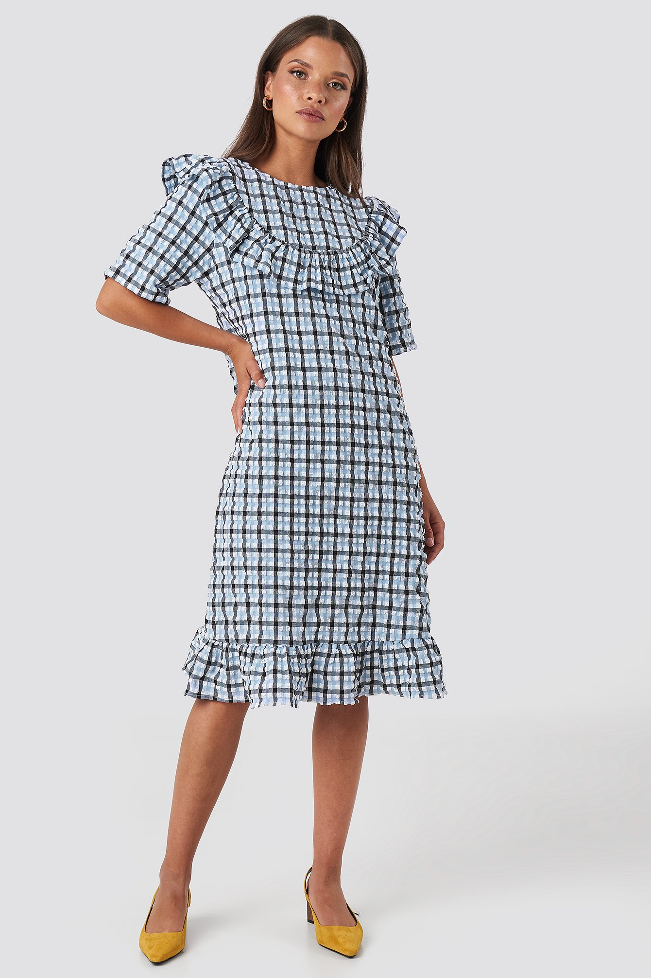 Checked Frill Detail Dress