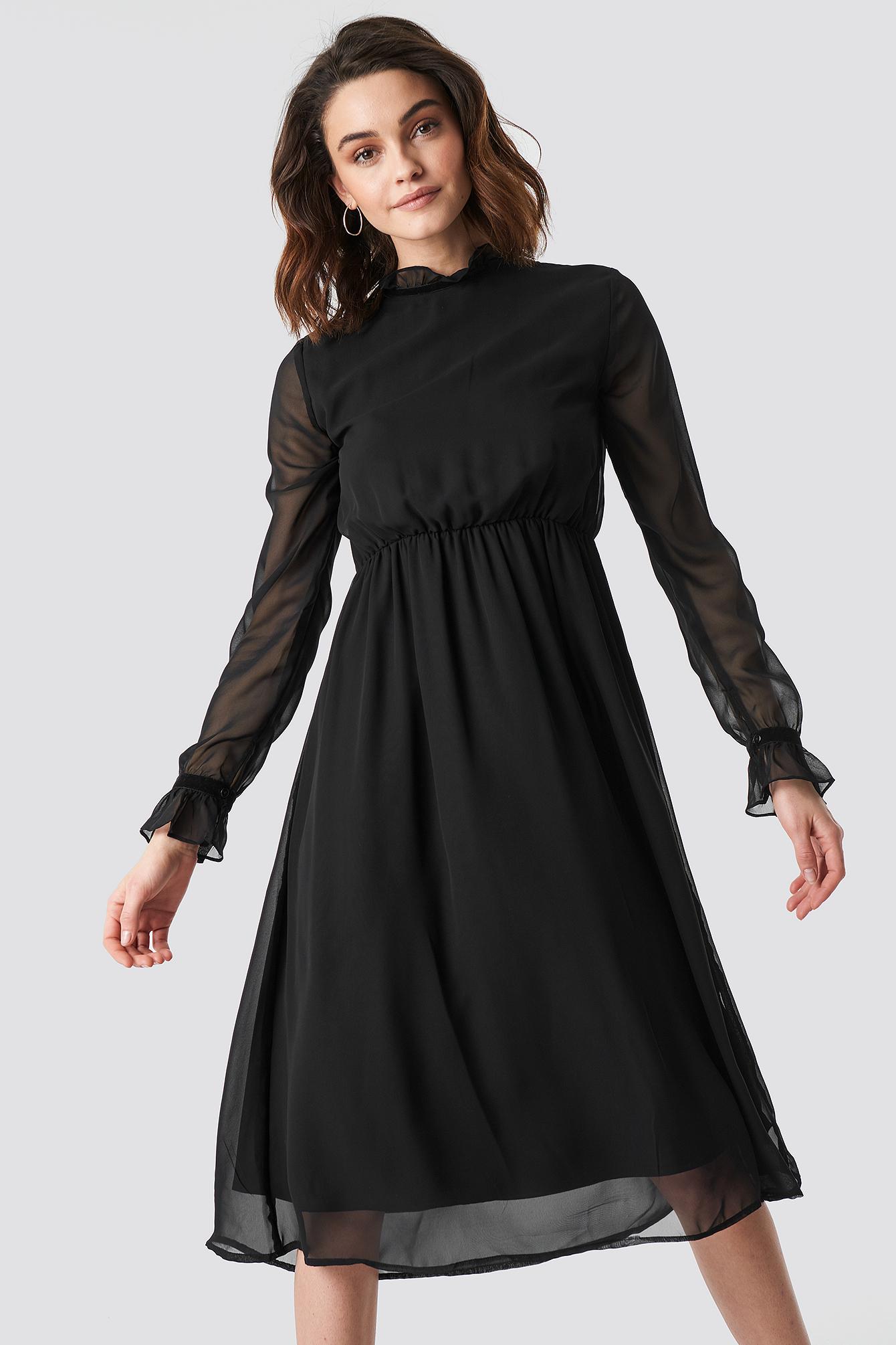 Frill Detail High Neck Chiffon Dress NA-KD.COM
