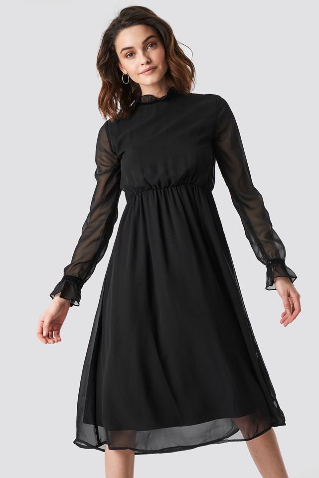 Frill Detail High Neck Chiffon Dress Black