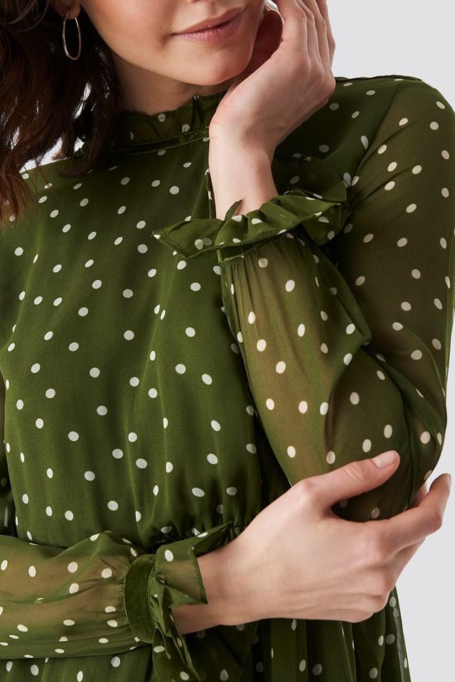 Frill Detail High Neck Chiffon Dress Green/White Dot