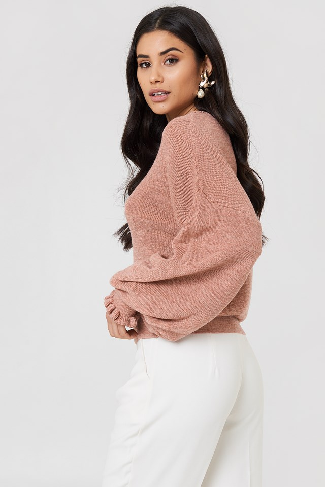 Frill Detail Knitted Sweater Pink Melange