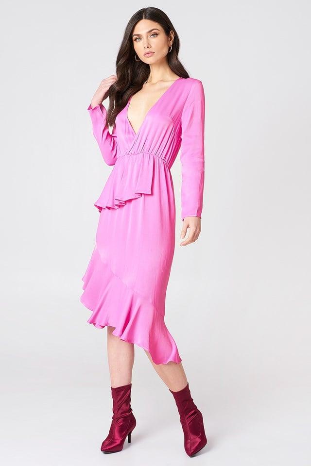 Frill Detail Long Sleeve Dress NA-KD