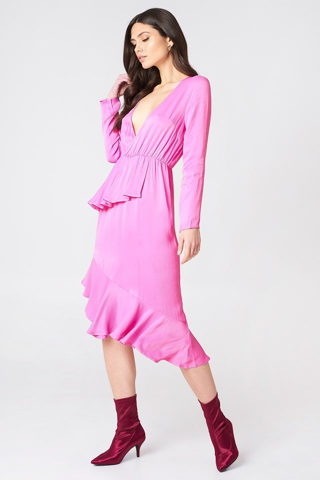 Frill Detail Long Sleeve Dress Bubblegum