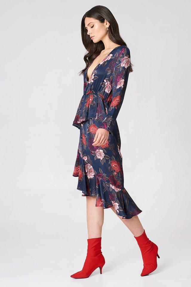 Frill Detail Long Sleeve Dress Dark Rose