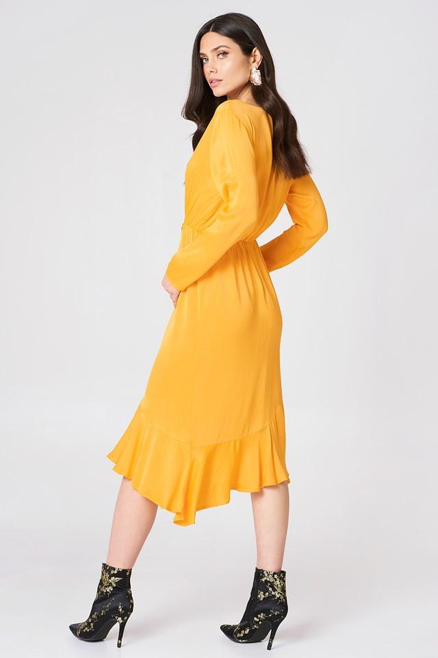 Frill Detail Long Sleeve Dress Citrus