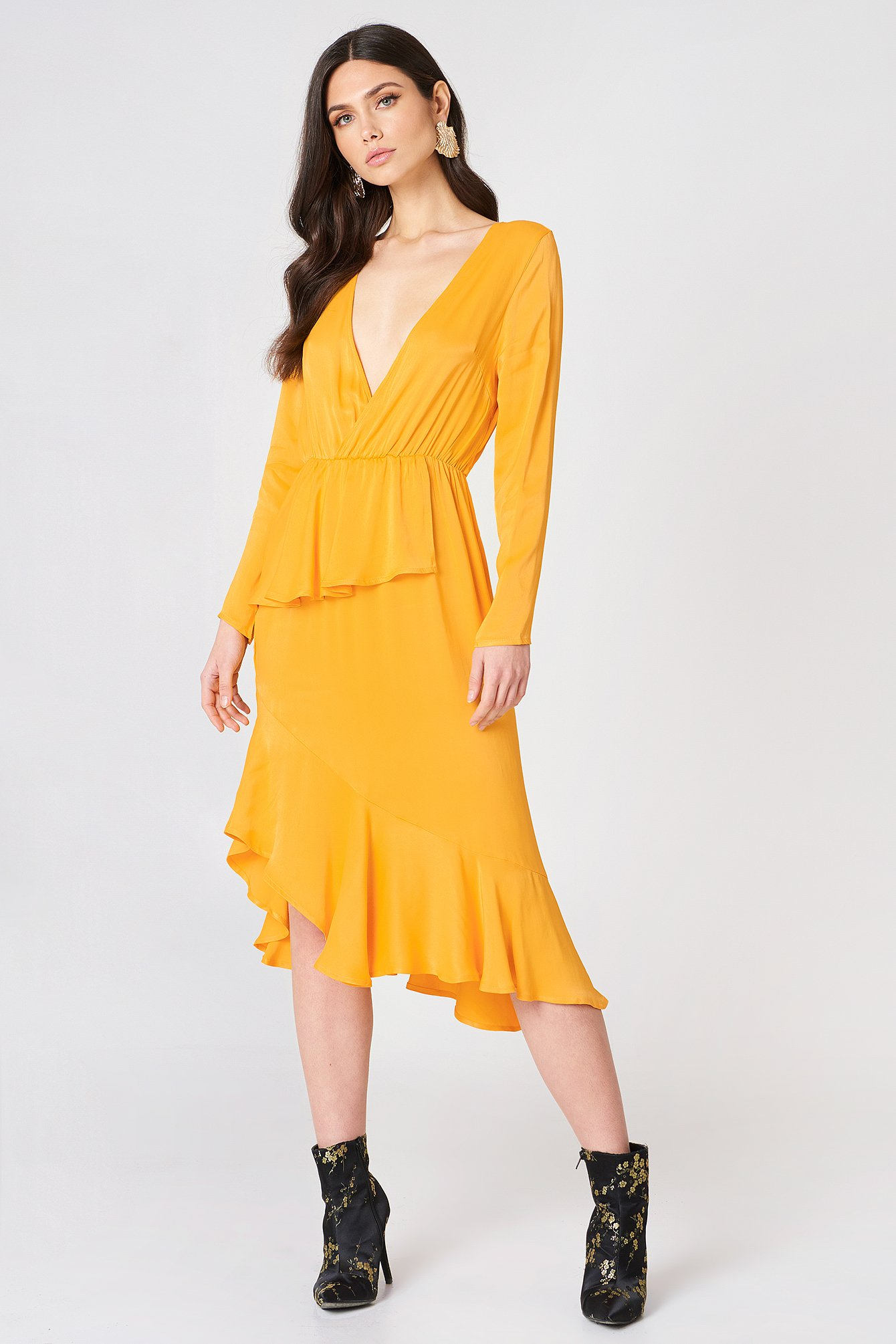 Frill Detail Long Sleeve Dress NA-KD.COM