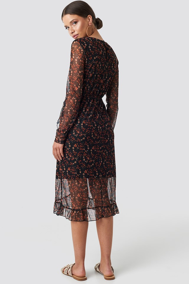 Frill Detail Printed Mesh Dress Black Flower Print