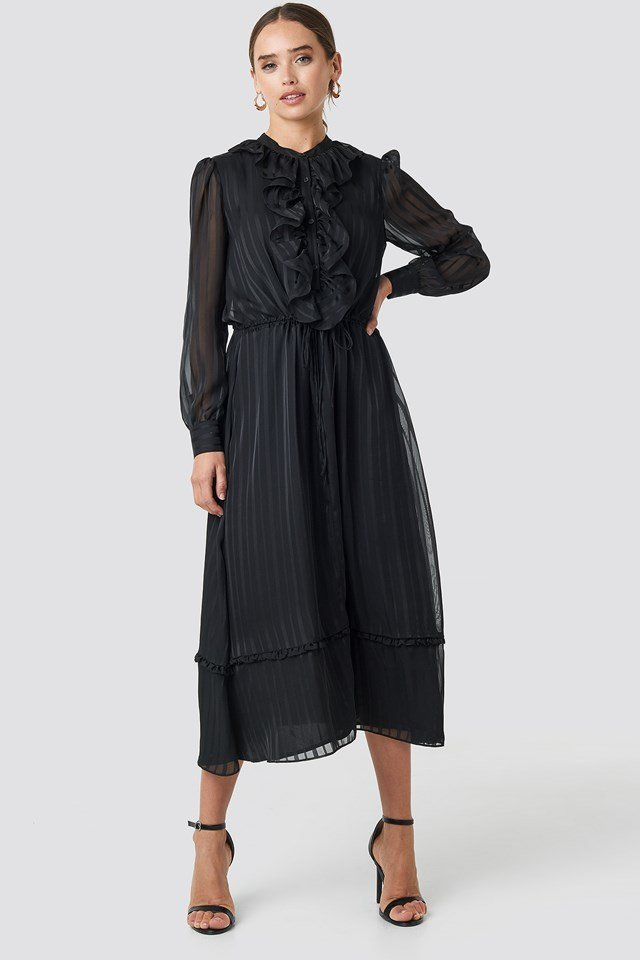 Printed Frill Detailed Ankle Dress Black