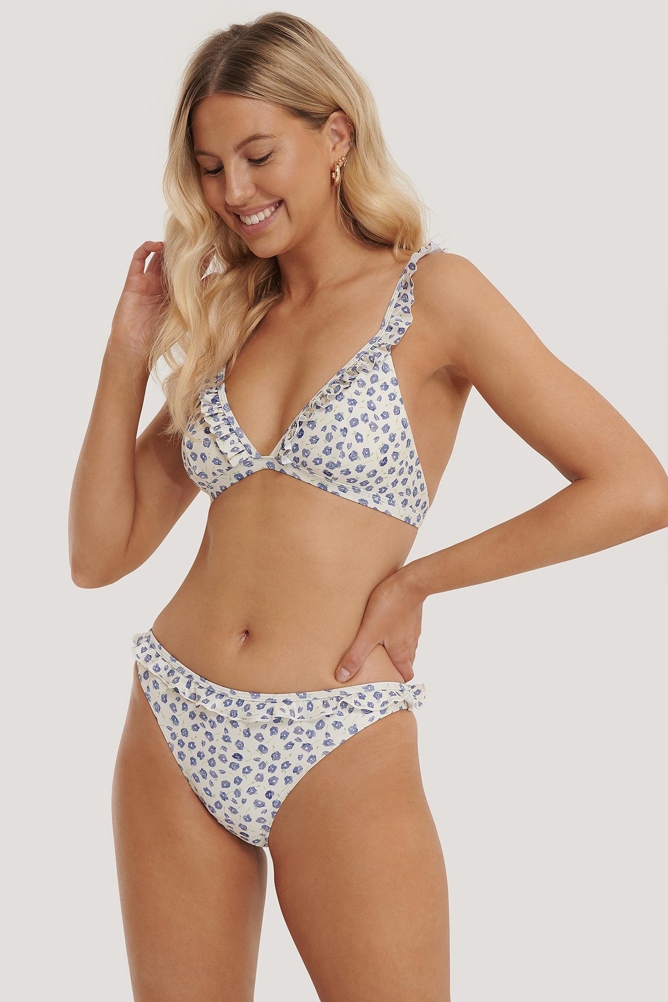 NA-KD Swimwear Bikinitrusser Med Flæsekant - Multicolor