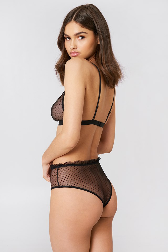 Frill Edge Dotted Mesh Panty Black