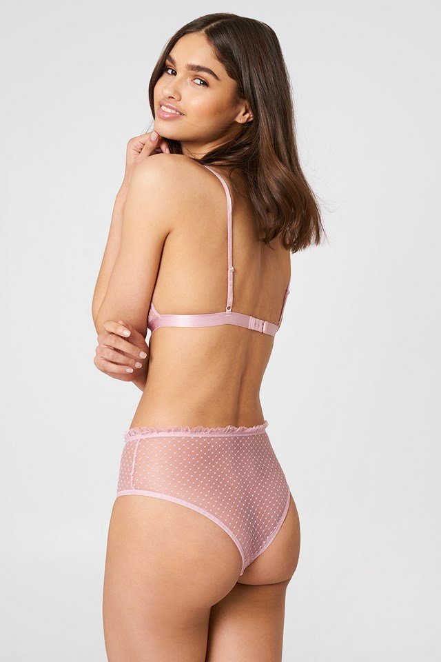 Frill Edge Dotted Mesh Panty Dusty Light Pink