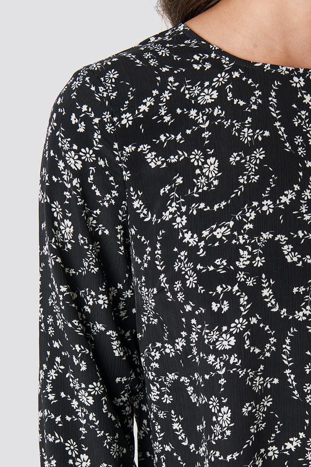 Frill Flower Printed Blouse Black/White Print