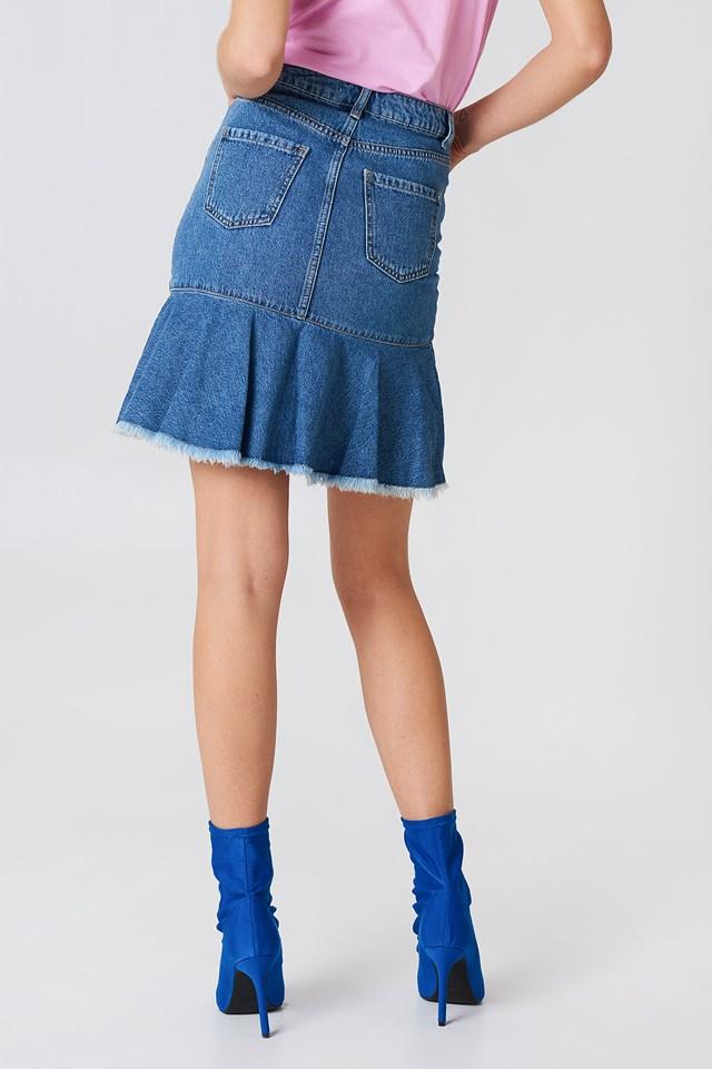 Raw Frill Hem Denim Skirt Mid Blue
