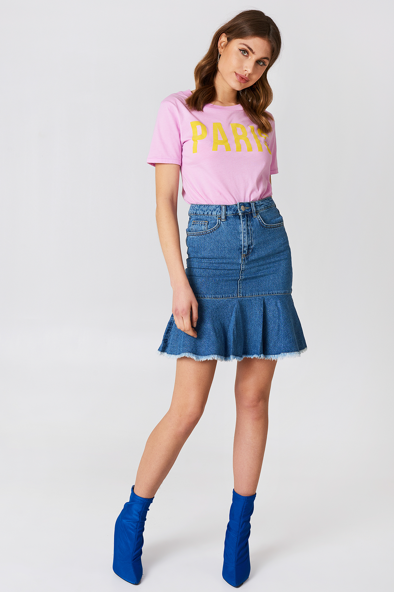 Raw Frill Hem Denim Skirt NA-KD.COM
