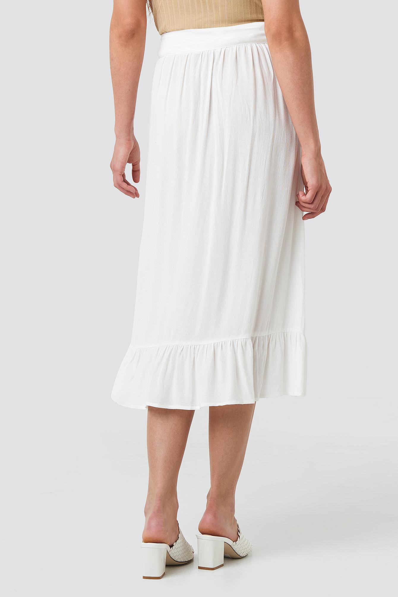 Frill Hem Front Button Skirt NA-KD.COM
