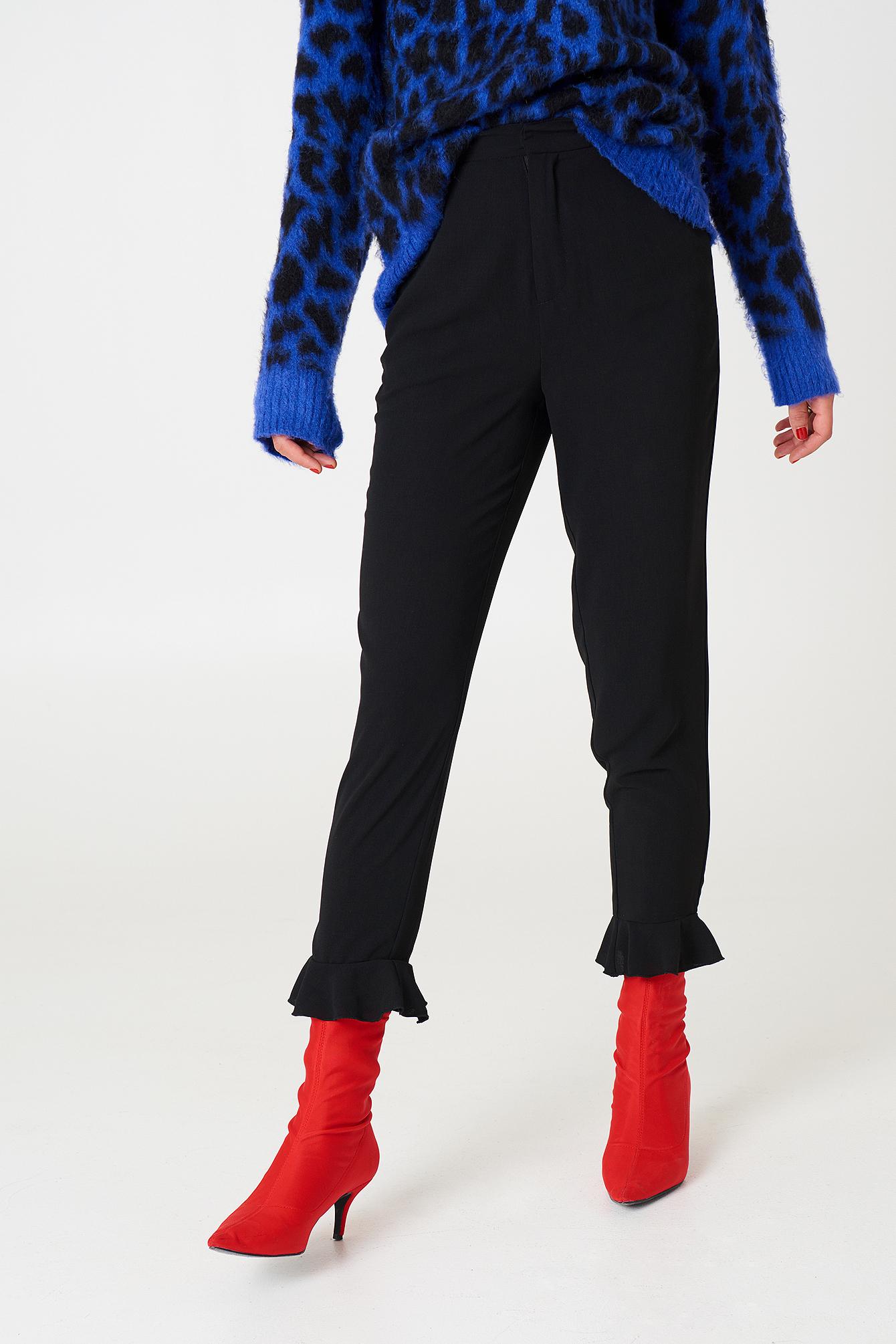 Frill Hem Pants NA-KD.COM
