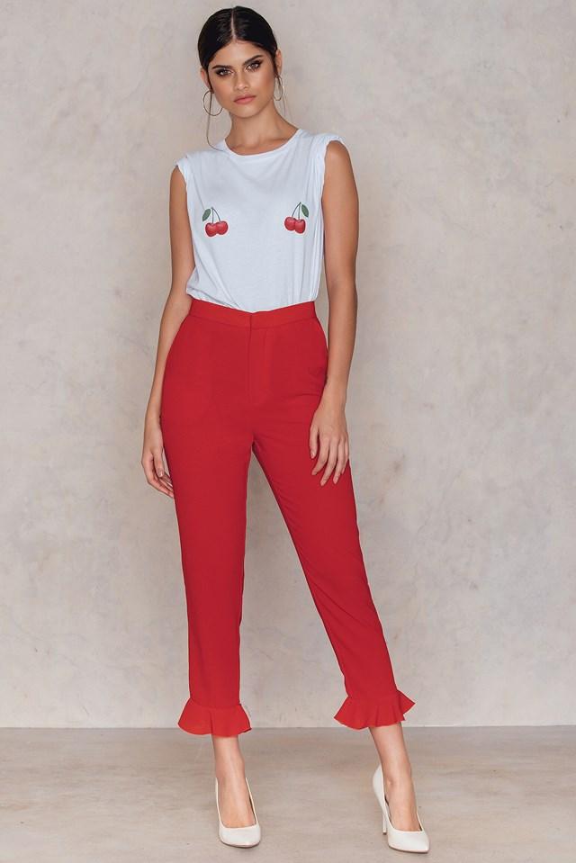 Frill Hem Pants Red