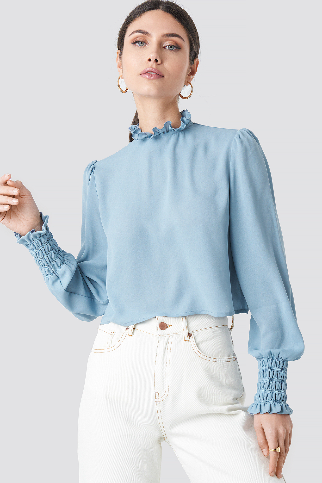 Frill High Neck Blouse Bleu by Na Kd