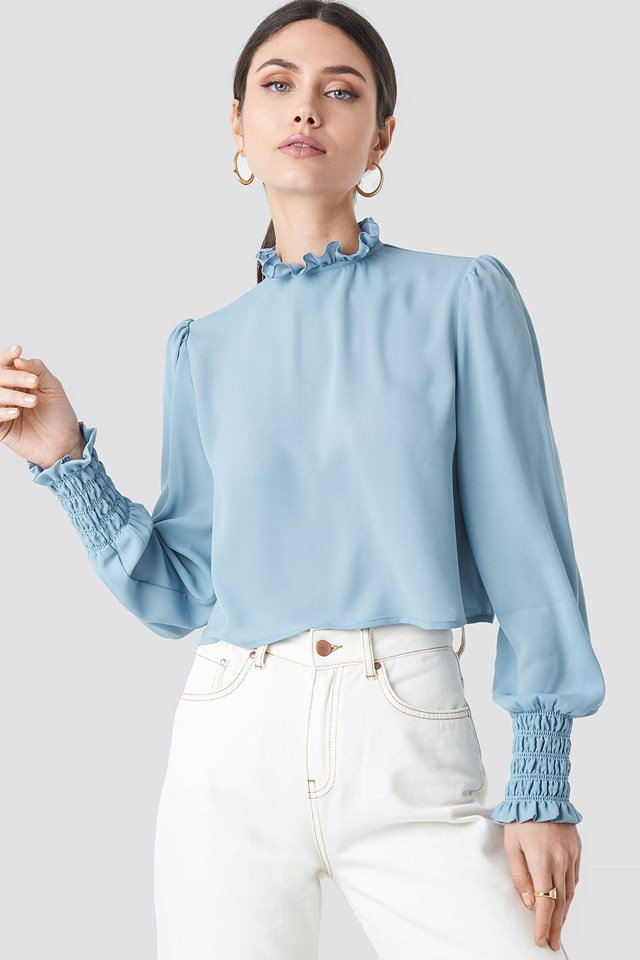 Frill High Neck Blouse NA-KD