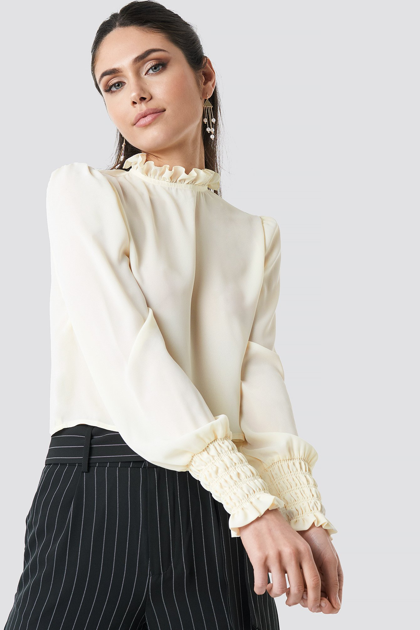 Frill High Neck Blouse Blanc by Na Kd