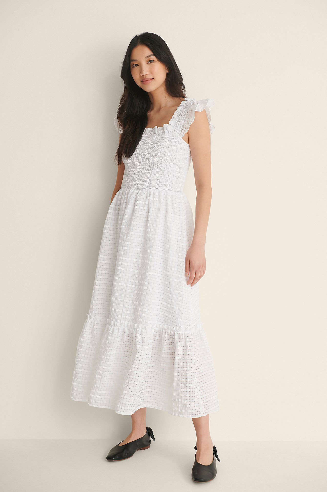White Frill Midi Dress