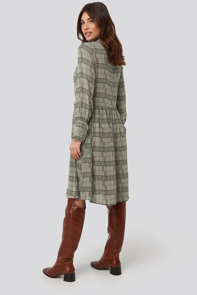 Frill Neck Checked Dress Green