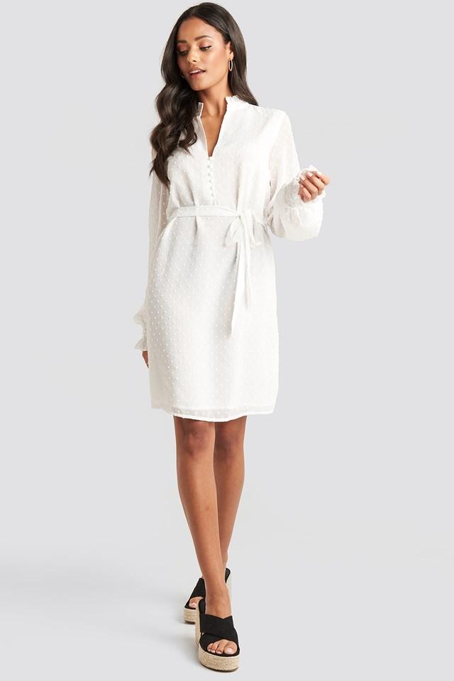 Frill Neck Dobby Dress White