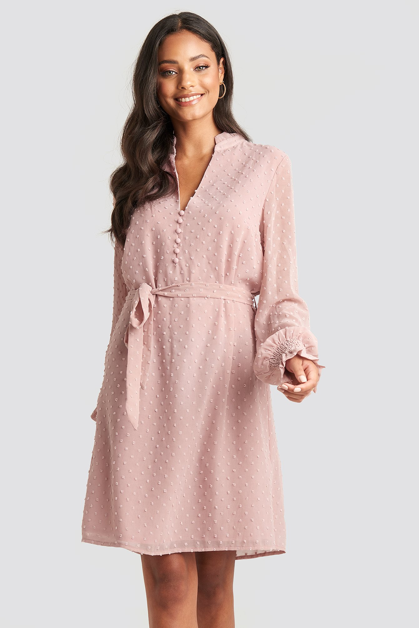 Frill Neck Dobby Dress Pink by Na Kd Party