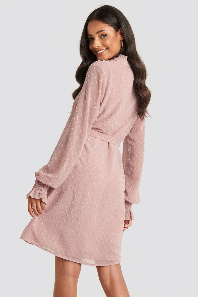 Frill Neck Dobby Dress Dusty Pink