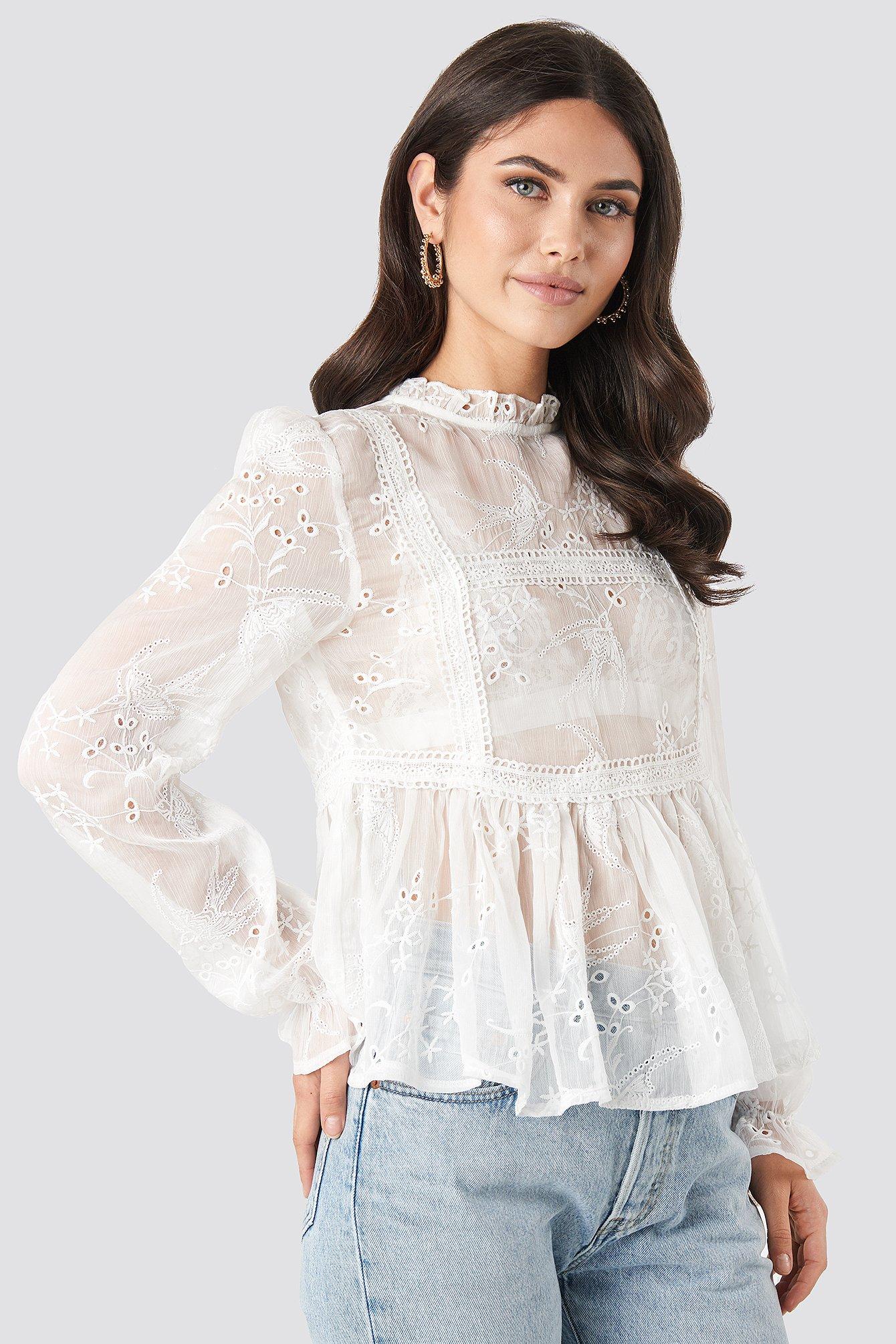 Frill Neck Embroidery Blouse Blanc by Na Kd Boho